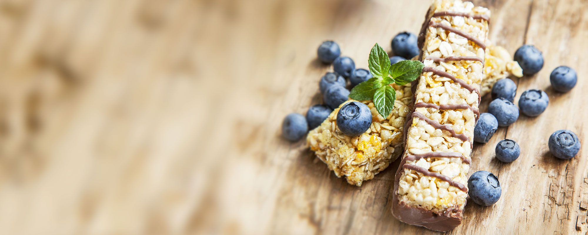 Healthy granola bars with blueberries for a tasty snack